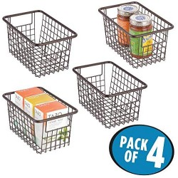 """mDesign Modern Farmhouse Deep Metal Wire Storage Organizer Bin Basket with Handles for Kitchen Cabinets, Pantry, Closets, Bedrooms, Bathrooms, Laundry Rooms, Garages - 5.25"""" High, 4 Pack - Bronze"""