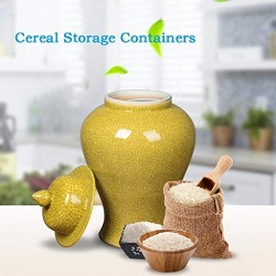 Airtight Food Storage Containers Bins Large With Lids, Ceramic Pottery Cereal Containers Canister Cookie Jar For Kitchen Pantry Organization Flour Rice Candy Bulk, 9L, 42x23cm (Color : Green)
