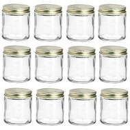Nakpunar 12 pcs 4 oz Straight Sided Glass Jars with Gold Metal Lids with Plastisol Liner (Gold, 12)