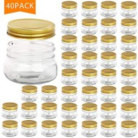 Encheng 5 oz Wide Mouth Mason Jars,Clear Glass Jars with Lids(Golden),Small Spice Jars for Herb,Jelly,Jams,Wedding Favors,Shower Favors,Baby Foods,Mini Canning Jars for Kitchen Storage 40 Pack …
