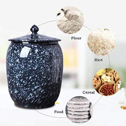 Airtight Food Storage Containers Bins Large With Lids, Ceramic Pottery Cereal Containers Canister Cookie Jar For Kitchen Pantry Organization Flour Rice Candy Bulk, 15L, 29x33cm