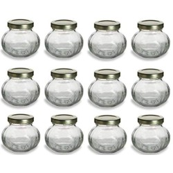 12 pcs, 4 oz Round Glass Jars for Jam, Honey, Wedding Favors, Shower Favors, Baby Foods, Canning, spices