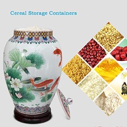 Airtight Food Storage Containers Bins Large With Lids, Ceramic Pottery Cereal Containers Canister Cookie Jar For Kitchen Pantry Organization Flour Rice Candy Bulk, 15L, 25L (Size : 15L)