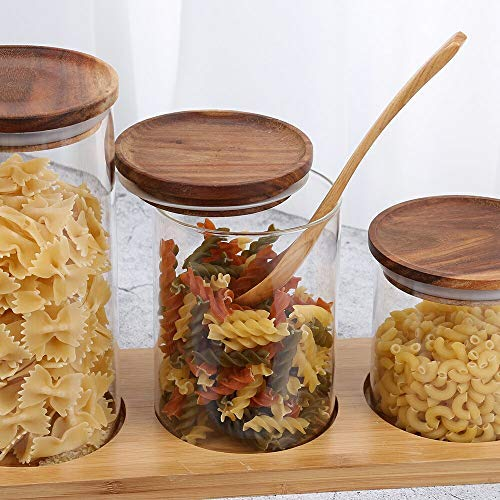 ARC USA Clear Glass Storage Jars with Wood Lids Wooden Lid Glass Canisters Airtight Lids Sealed Jars for Storage Tea Coffee Beans Sugar Salt Cookies and Candy (25floz)
