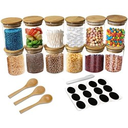 12 Piece Glass Jars with Natural Bamboo Lids with 3 Bamboo Spoons for Home Kitchen 8oz - Tea, Flour, Cookie, Candy & Spices - Small Food Storage Airtight Canister Sets for Kitchen Pantry Organization