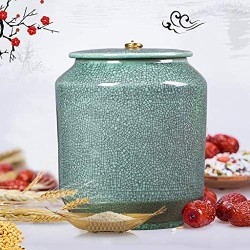 Airtight Food Storage Containers Bins Large With Lids, Ceramic Pottery Cereal Containers Canister Cookie Jar For Kitchen Pantry Organization Flour Rice Candy Bulk, 8L, 10L (Size : 10L)