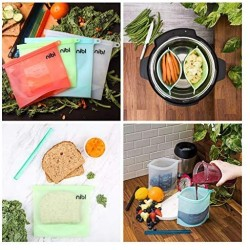 (4 Pack -1 qt.) NIBL Reusable Silicone ZipLock Food Storage Bags - Leakproof Kitchen Container For Sandwich Snack Soup Freezer Meal Prep Travel Sous Vide Cooking Microwave Dishwasher Safe