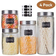 Glass Kitchen Storage Canister Jars Glass Mason jars with Stainless Steel Lids and 8 Labels & 1 Chalk Marker For The Kitchen-27/44/57/71 OZ.(4-pack Assorted-Diagonal Stripes)