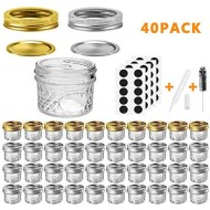 Mason Jars Canning Jars, 4 OZ Jelly Jars With Regular Lids and Bands, Ideal for Jam, Honey, Wedding Favors, Shower Favors, Baby Foods, DIY Magnetic Spice Jars, 40 PACK By SPANLA