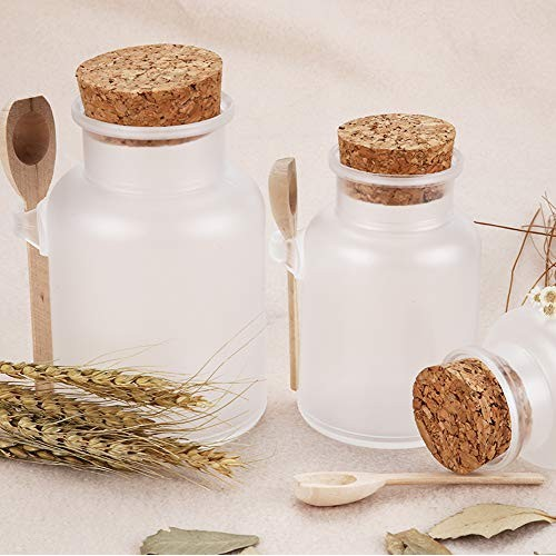 NATUWORLD 2PCS Plastic Bath Salt Seasoning Sauce Jar Container Empty Clear Frosted Cosmetic Powder Bottle Kitchen Storage Container with Cork Stopper and Wooden Spoon (100ml)
