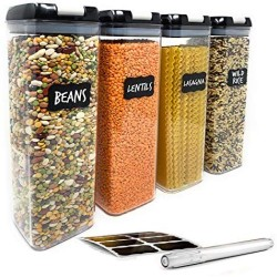 Airtight Food Storage Containers for Pantry Organization ? by Simply Gourmet. 4-Piece Tall Pasta or Spaghetti Container Storage. BPA Free Kitchen Storage Containers with FREE Labels & Marker
