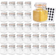 Betrome 4 oz Glass Jars with Airtight Rubber Gasket Lid, Small Storage Glass Jar with Stainless Steel Clasp for Kitchen, Bathroom Multipurpose Mini Jar(30 Pack)