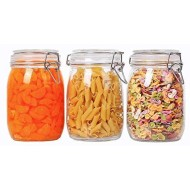 ComSaf Airtight Glass Canister Set of 3 with Lids 34oz Food Storage Jar Round - Storage Container with Clear Preserving Seal Wire Clip Fastening for Kitchen Canning Cereal,Pasta,Sugar,Beans,Spice