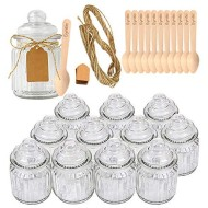 Syntic 12 Pcs 8 oz Spice Jars/Glass Food Storage Jars with Airtight Seal, Glass Canister Jars for Jam, Herbs, Spices, Coffee, Sugar, Extra Tag Strings and 12 Disposable Wooden Dessert Spoons Included