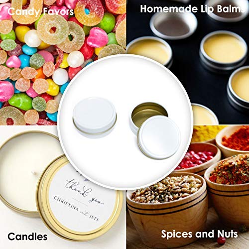 Mimi Pack 24 Pack Tins 4 oz Shallow Round Tins with Solid Slip Lids Empty Tin Containers Cosmetics Tins Party Favors Tins and Food Storage Containers (White)