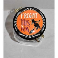 """25 Home Decor New 8""""&quotFright This Way Witch on her Broom Air Tight Ceramic Hinged Lid & Glass Canister Storage Jar"""