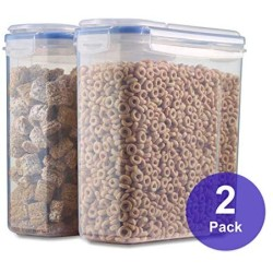 1790 Gallon Cereal Container 2 Pack - Free Label Kit, 4 Sided-Locking Lid, Watertight, Airtight, Space Saving, Built-in Handle, BPA Free - Flour Container, Sugar Dispenser, Food Storage Container