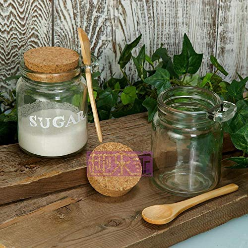 VASANA 1PCS 250ml Empty Clear Durable Glass Food Storage Container Bottle with Cork Stopper and Wooden Spoon Travel Packing Jar for Bath Salt Cosmetic Powder Honey Nuts Suger