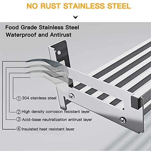 Eastore Life Wall Mounted Spice Rack with 4 Hooks - 304 Stainless Steel Seasoning Storage Shelf for Kitchen, Easy to Assemble, length range from 30cm to 100cm