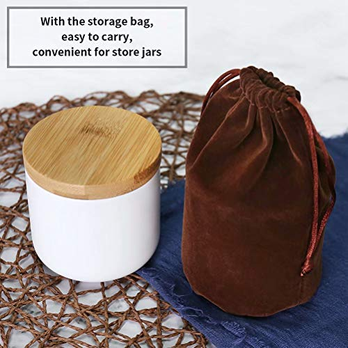 77L Food Storage Jar, (Set of 2) Ceramic Food Storage Jar with Storage Bag and Wooden Lid, 6.08 FL OZ (180ML) Portable Airtight Food Storage Canister for Coffee, Nuts, Tea and More (White and Black)