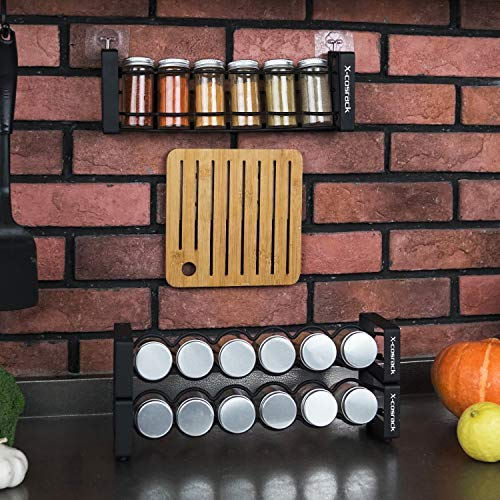 X-cosrack 3 Tier Stackable Spice Holder Storage Rack with 18 Glass Empty Jars & 48 Labels Freestanding Black Frosted Iron Seasoning Condiment Display Shelf 13.4