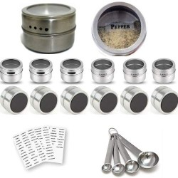 12 Magnetic Spice Containers Tins Stainless Steel for Fridge Jars Set Kitchen Organizer Clear Top Lids Sift or Pour Spice Storage & Arts & Craft Storage, 4 Measuring Spoons 96 Jar Labels, Metal Plates