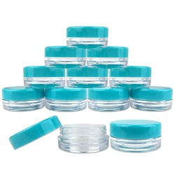 (Quantity: 100 Pieces) Beauticom 3G/3ML Round Clear Jars with TEAL Sky Blue Lids for Scrubs, Oils, Toner, Salves, Creams, Lotions, Makeup Samples, Lip Balms - BPA Free