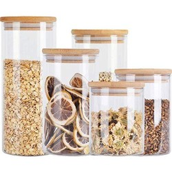 HIZLJJ 5Pcs Food Storage Jar,Glass Food Storage Jar with Airtight Seal Bamboo Lid - Modern Design Clear Food Storage Canister for Serving Tea, Coffee, Spice and More