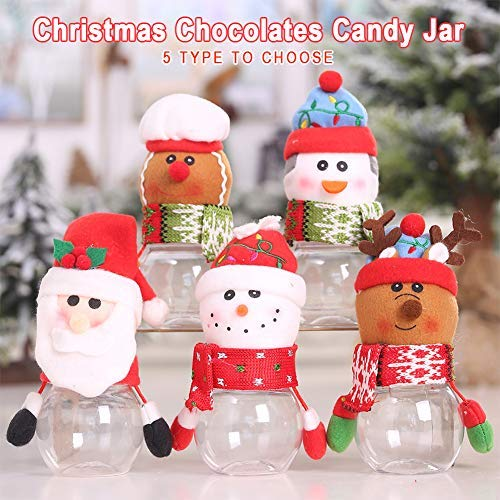 Christmas Sweet Jars, 10Pcs Cute Kids Candy Storage Bottle, Chocolates Candy Biscuits Jar with Santa/Snowman/Elk/Penguin/Gingerbread Man Patterns, for Christmas Gift Packaging