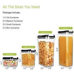 Airtight Food Storage Containers - MCIRCO 7 Pieces BPA Free Plastic Containers with Upgraded Durable Lids - for Kitchen Organization and Storage, Include 20 Labels, 1 Marker and 9 Measuring Tools