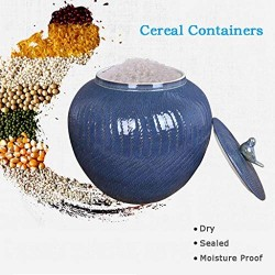 Airtight Food Storage Containers Bins Large With Lids, Ceramic Pottery Cereal Containers Canister Cookie Jar For Kitchen Pantry Organization Flour Rice Candy Bulk, 10L, 29x30cm (Color : Blue)