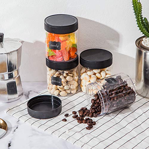 8oz Plastic Jars With Lids, Accguan Airtight Container for Food Storage, Clear Plastic Jars Ideal For Dry Food, Peanut Butter, Honey and Jam Storage, Set of 20