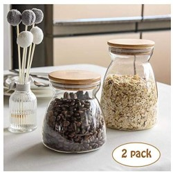 LEGOU Kitchen Food Containers,Glass Food Storage Jar with Airtight Seal Bamboo Lid - Modern Design Clear Food Storage Canister for Serving Tea, Coffee, Spice and More