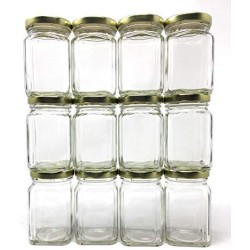 (12 Pack) 6 oz (190 ml) Victorian Square Glass Jar with Gold Metal Lid by Packaging For You