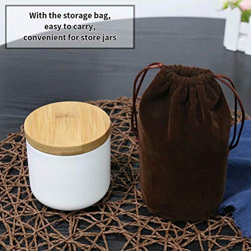 77L Food Storage Canister, 6.08 FL OZ (180ML) Airtight Food Storage Canister with Storage Bag and Wooden Lid, Modern Design Portable Ceramic Food Storage Jar for Spice, Coffee, Nuts and More (White)