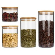4pcs Glass Jar Glass Sealed Can Sealed Glass Food Storage Tank Airtight Glass Storage Tank Closed Glass Bottle With Bamboo Lid For Candy, Biscuits, Rice, Sugar, Flour, Pasta, Nuts