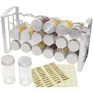 TQVAI Countertop Spice Jars Rack Wall Mounted Herb Organizer with18-Glass Jars 48 Labels Stickers, Chrome