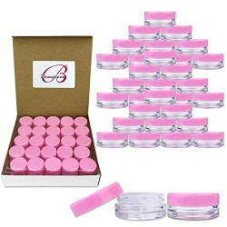 (100 Pcs) Beauticom 3G/3ML Round PINK Screw Cap Lid with Clear Base empty Plastic Container Jars for Cosmetic Cream Pot Makeup Eye Shadow Nails Powder Jewelry (Quantity: 100 Pieces)