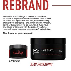 Hair Craft Co. Clay Pomade 2.8oz - Shine Free Matte Finish - Medium Hold/Natural Look – Best Men's Styling Product, Barber Approved – Ideal for Textured, Thickened & Modern Hairstyles – Unscented