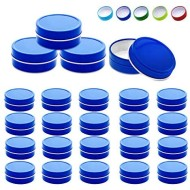 Mimi Pack 24 Pack Tins 2 oz Shallow Round Tins with Solid Slip Lids Empty Tin Containers Cosmetics Tins Party Favors Tins and Food Storage Containers (Blue)