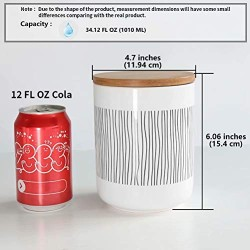 77L Food Storage Canister, 34.12 FL OZ (1010 ML) Ceramic Food Storage Canister with Airtight Wooden Lid - Food Storage Jar with Round Bottom for Serving Oatmeal, Cookie, Coffee and More
