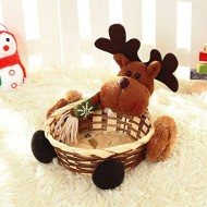 m?kvfa Christmas Candy Storage Basket Decoration Santa Claus Storage Basket Christmas Crafts Handmade Basket Christmas Accessories Gift Event Party Supplies (B)