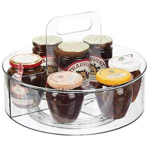 mDesign Deep Plastic Lazy Susan Spinning Food Storage Turntable with Handle for Cabinet, Pantry, Refrigerator, Countertop - Portable Rotating Organizer for Spices, Condiments, Baking Supplies - Clear