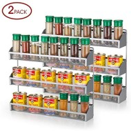 Bextsware 2 Pack Spice Rack Organizer, 3 Tier Counter-top Stand or Wall Mounted Storage Rack Hanging Shelf for Kitchen Cabinet, Cupboard, Pantry Door or Bathroom Shower Cosmetic - Chrome (3 Tier)