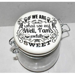 25 Home Decor New 25oz IF WE are What WE EAT IM Awfully Sweet Air Tight Ceramic Hinged Lid & Glass Canister Storage Jar