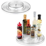 """mDesign Plastic Spinning 2 Tier Lazy Susan Turntable Food Storage Bin - Rotating Organizer for Kitchen Pantry, Cabinet, Refrigerator or Freezer - 11"""" Round, 2 Pack - Clear"""