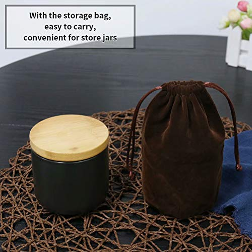 77L Food Storage Canister, 6.08 FL OZ (180ML) Airtight Food Storage Canister with Storage Bag and Wooden Lid, Modern Design Portable Ceramic Food Storage Jar for Spice, Coffee, Nuts and More (Black)