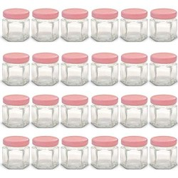1.5 oz Hexagon Mini Glass Jars with RED Lids and Labels (Pack of 24)
