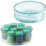 """mDesign Plastic Spinning Lazy Susan Turntable Storage Organizer for Kids, Baby/Toddler - Place in Kitchen Cabinet, Pantry, Refrigerator, Countertop - BPA Free & Food Safe - 9"""" Round, 2 Pack - Sea Blue"""