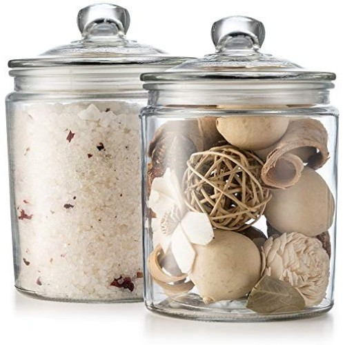 KooK Glass Storage Canister, Clear Jar, With Clear Glass Lid- 1/2 Gallon (Set of 2)